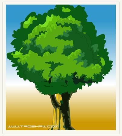 有朋友问到大树的画法.这里写一下,希望能对需要的朋友有所帮助.